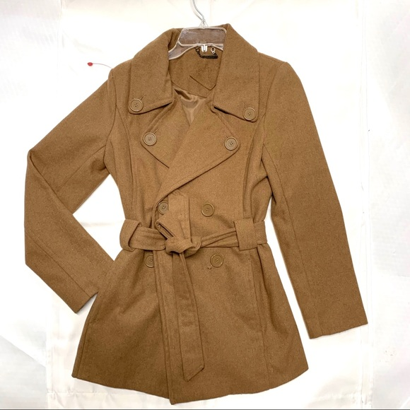 Joujou Tan Camel Brown Belted Trench Pea Coat Larg